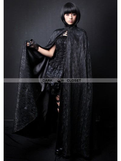 Pentagramme Black Lace High Collar Womens Gothic Cape