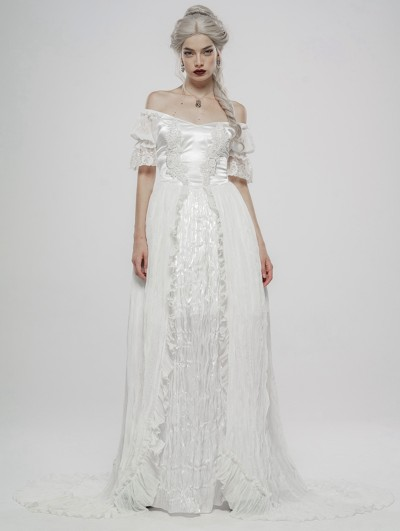 Punk Rave White Vintage Gothic Victorian off-the-Shoulder Long Dress