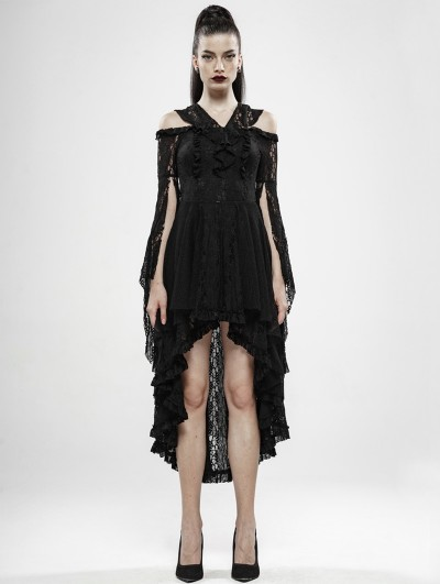 Punk Rave Black Gothic Wilderness Witch Lace Irregular Dress