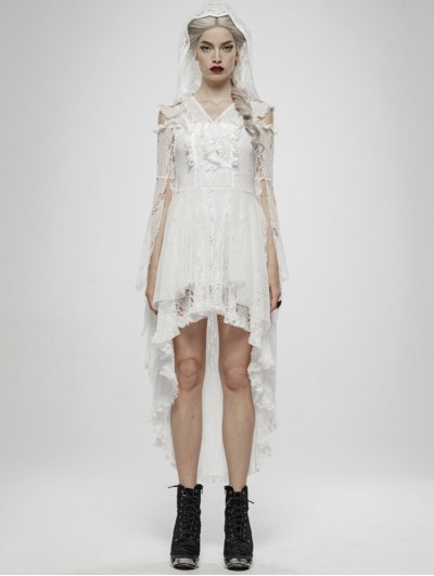 Punk Rave White Gothic Wilderness Witch Lace Irregular Dress