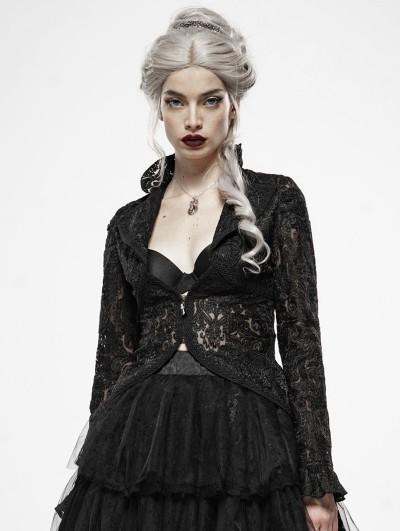 Punk Rave Gothic Dark Queen Perspective Lace Short Jacket for Women