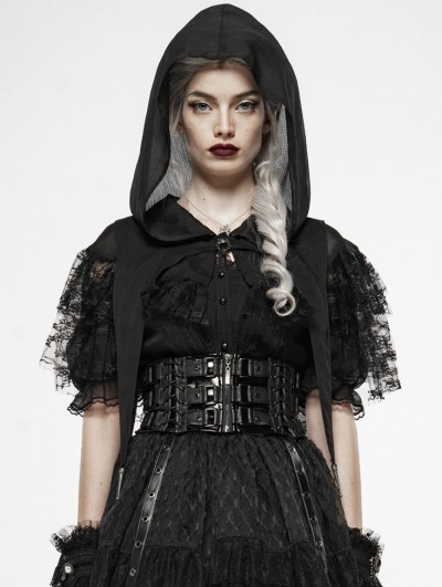 Punk Rave Dark Gothic Magic Lace Hooded Cloak for Women