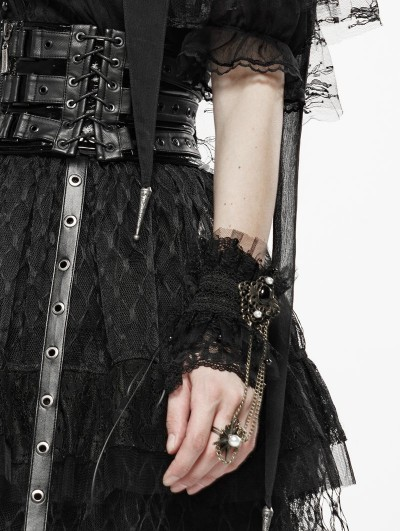 Punk Rave Black Sexy Queen Lace Vintage Gothic Gloves