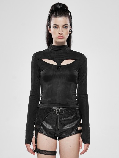 Punk Rave Dark Legends Black Gothic Hollow-out Long Sleeve T-Shirt for Women