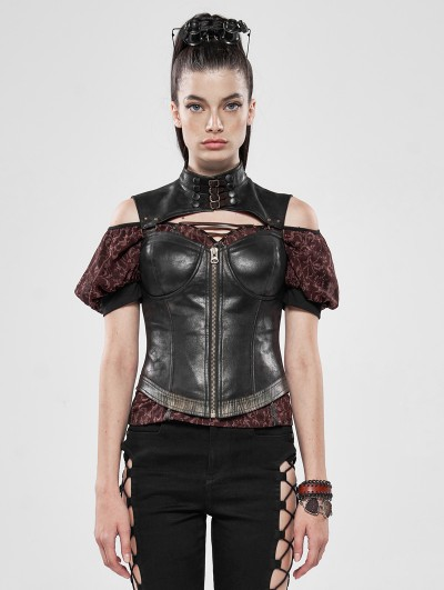 Punk Rave Brown Steampunk Captive Soul Corset Top for Women