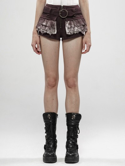 Punk Rave Brown Steampunk Lace Shorts for Women