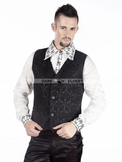 Pentagramme Black Pattern Mens Gothic Vest