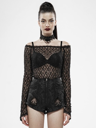 Punk Rave Black Gothic Rebirth Transparent Lace Long Sleeve T-Shirt for Women