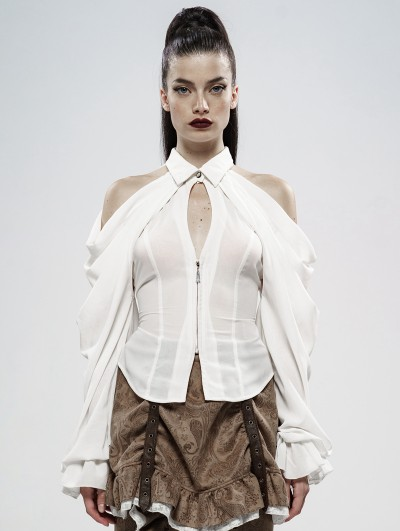 Punk Rave Demon's Tears White Gothic Off-the-Shoulder Blouse with Removable Sleeves