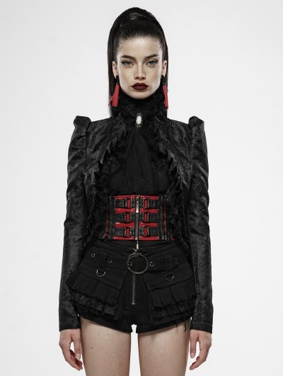 Punk Rave Red Night Black Vintage Gothic Swallow Tail Coat for Women