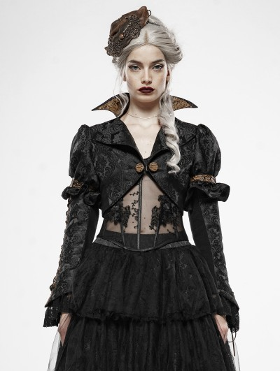 Punk Rave Black Vintage Steampunk Desperate Crisis Short Coat for Women
