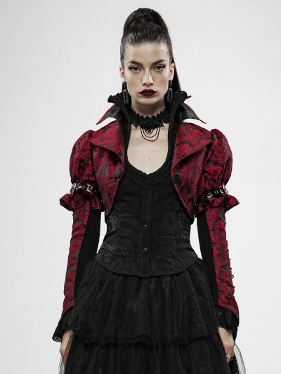 Punk Rave Red Vinathe Steampunk Desperate Crisis Short Coat for Women