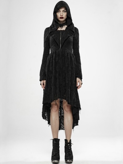 Punk Rave Dark Witch Black Gothic Long Cardigan with Hood