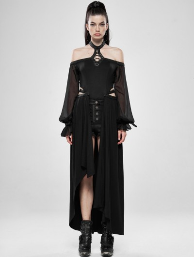 Punk Rave Black Gothic Dark Night Dress with Detachable Long Skirt