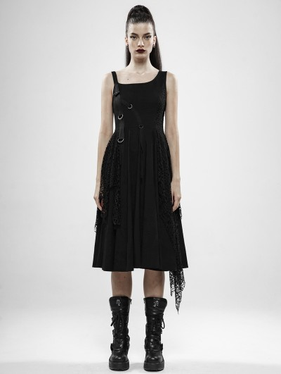 Punk Rave Black Gothic Punk Rebellious Girl Irregular Dress