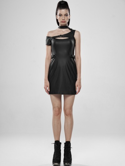 Punk Rave Black Gothic Punk PU Leather Mini Dress