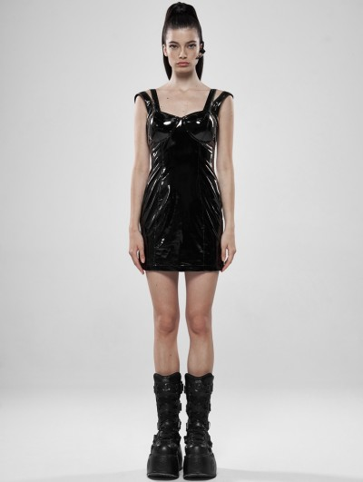 Punk Rave Black Gothic Glamour Sexy Latex Short Dress