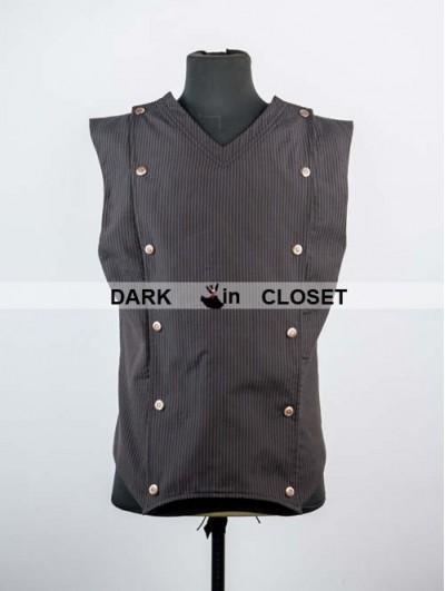 Pentagramme Brown Stripe Mens Gothic Steampunk Vest