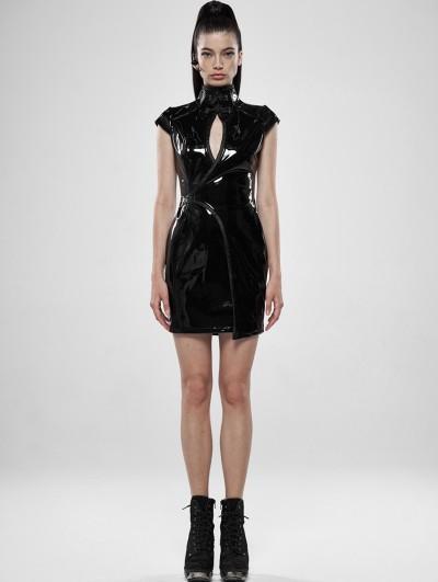 Punk Rave Black Gothic Punk Latex Chinese Style Short Dress