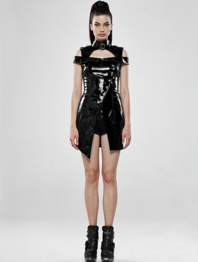 Punk Rave Black Sexy Gothic Punk Latex Mini Dress
