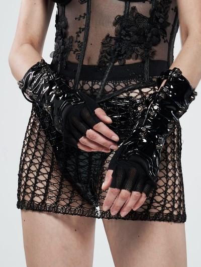 Punk Rave Black Gothic Futuristic Punk Latex Gloves