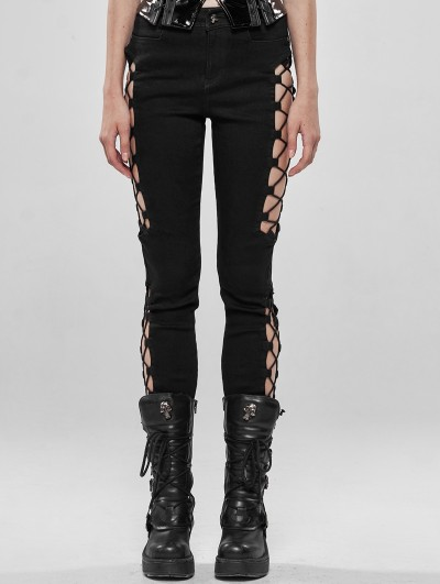 Punk Rave Black Gothic Punk Split Hollow-out Trousers for Women