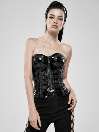 Punk Rave Black Gothic Love and Imprisonment Heavy Metal Heart-Shaped Corset