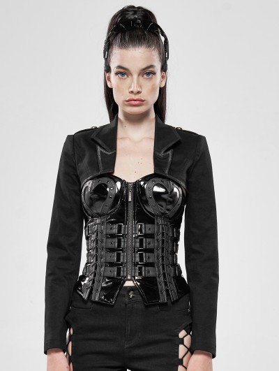 Punk Rave Black Gothic Military Ultra Short Jacket for Women