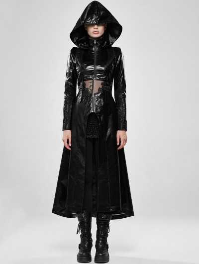 Punk Rave Black Gothic Cosmic Warrior Glossy Long Coat with Detachable Hem