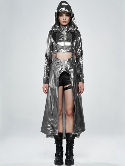 Punk Rave Sliver Gothic Cosmic Warrior Glossy Long Coat with Detachable Hem