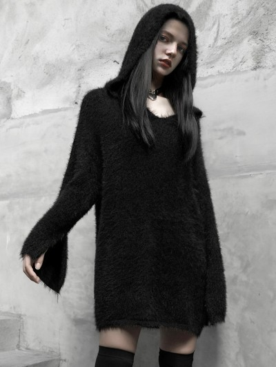 Punk Rave Black Gothic Street Fashion Long Hooded Sweater for Women
