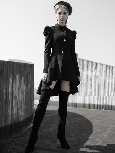 Punk Rave Black Vintage Gothic Irregular Dress Coat for Women