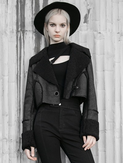 Punk Rave Black Gothic Punk Street Fashion Winter Short Jacket for Women
