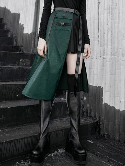 Punk Rave Black and Green Gothic Punk Street Fashion Irregular Pleated Skirt