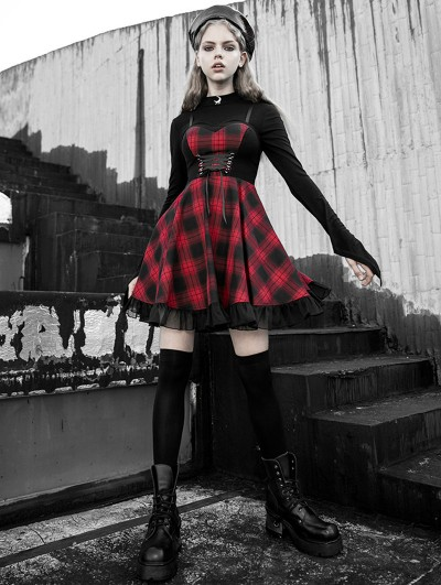 Punk Rave Black and Red Plaid Gothic Street Fashion Short Dress
