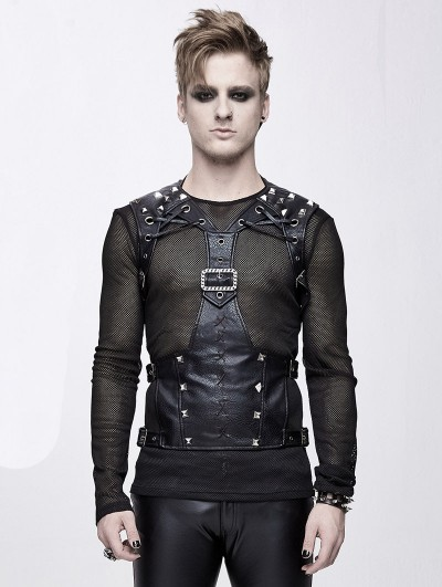 Devil Fashion Black Gothic Punk PU Leather Vest Top for Men