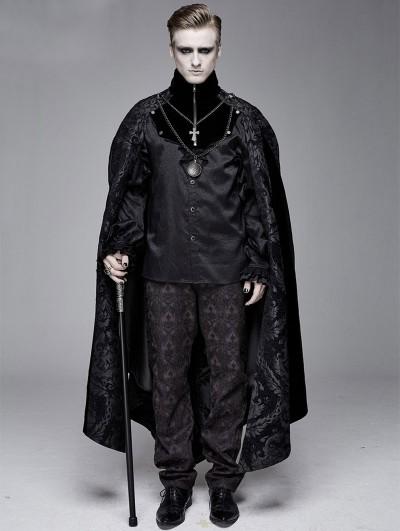 Devil Fashion Black Vintage Palace Jacquard Gothic Long Cape for Men