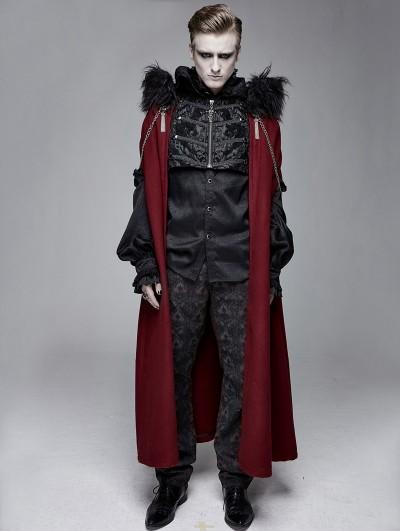 Devil Fashion Black and Red Vintage Palace Jacquard Gothic Long Cape for Men