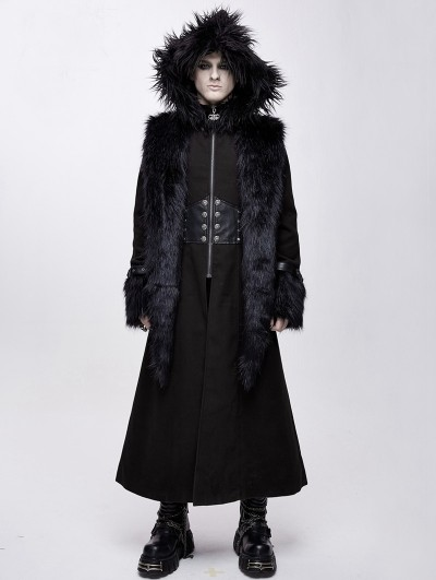 Devil Fashion Black Gothic Military Style Fur Winter Warm Long Coat for Men