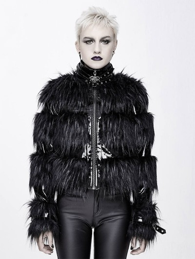 Devil Fashion Black Gothic Fashion PU Leather Winter Warm Short Fur Jacket for Women