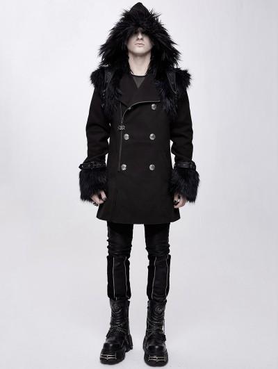 Devil Fashion Black Men's Gothic Punk Winter Hooded Coat with Detachable Shoulder Accessory