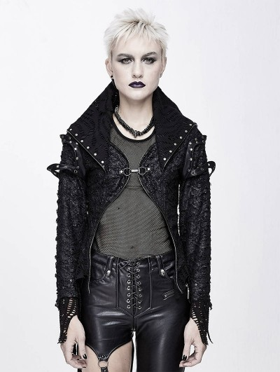 Devil Fashion Black Gothic Punk Rivet Short Jacket for Women