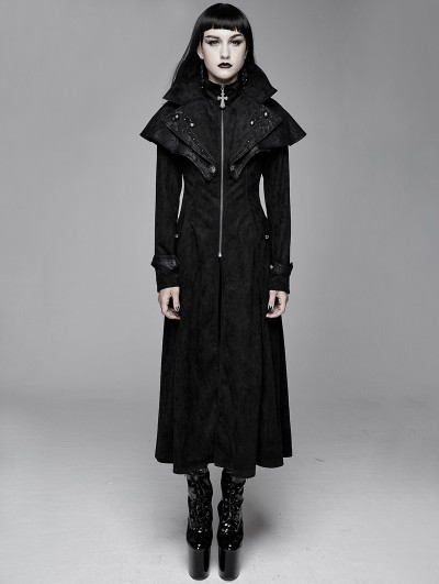 Devil Fashion Black Vintage Gothic Rivet Long Cape Design Coat for Women