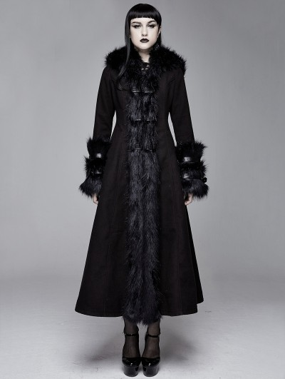 Devil Fashion Black Gothic Fur Winter Warm Long Hooded Coat for Women
