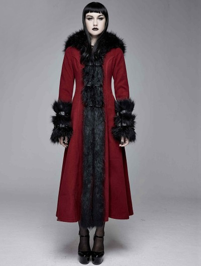Devil Fashion Red and Black Gothic Fur Winter Warm Long Hooded Coat for Women