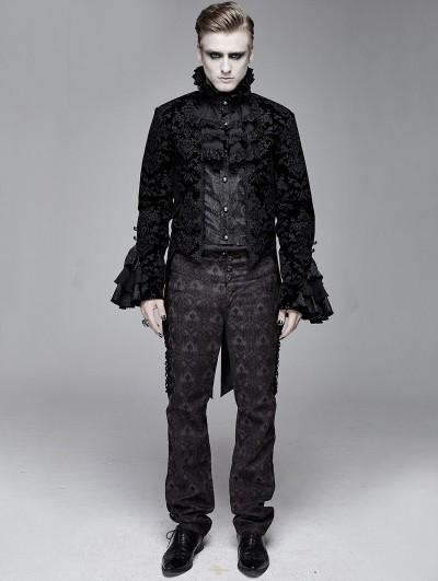 Devil Fashion Black Vintage Gothic Victorian Tuxedo Party Jacquard Jacket for Men