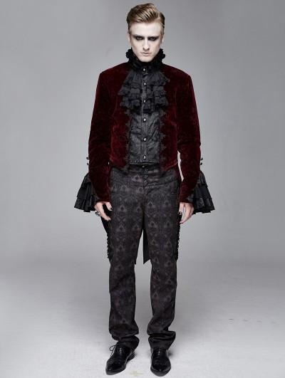 Devil Fashion Red Vintage Gothic Victorian Tuxedo Party Velvet Jacket for Men