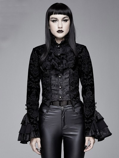 Devil Fashion Black Vintage Gothic Victorian Tuxedo Party Jacquard Jacket for Women