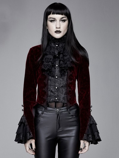Devil Fashion Red Vintage Gothic Victorian Tuxedo Party Velvet Jacket for Women