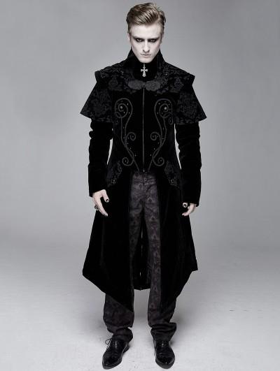 Devil Fashion Black Gothic Victorian Vintage Long Velvet Tailcoat for Men